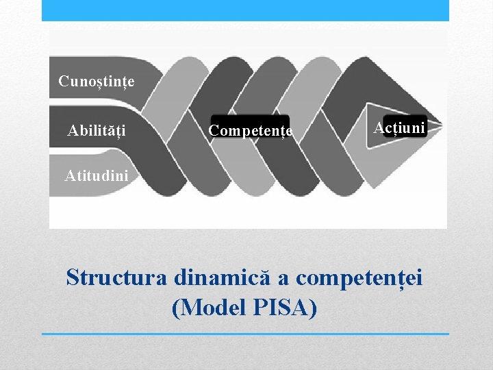 Cunoștințe Abilități Competențe Acțiuni Atitudini Structura dinamică a competenței (Model PISA)