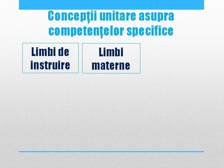 Concepții unitare asupra competențelor specifice Limbi de instruire Limbi materne