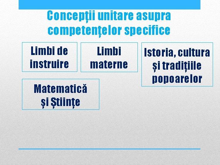 Concepții unitare asupra competențelor specifice Limbi de instruire Matematică și Științe Limbi materne Istoria,
