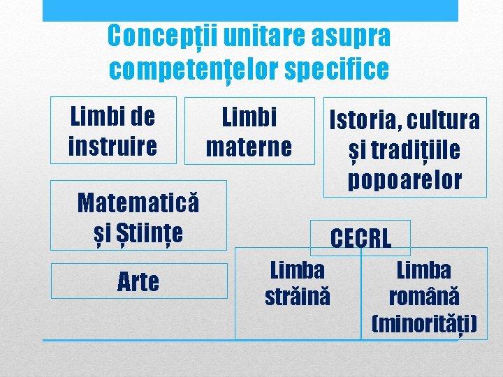 Concepții unitare asupra competențelor specifice Limbi de instruire Matematică și Științe Arte Limbi materne