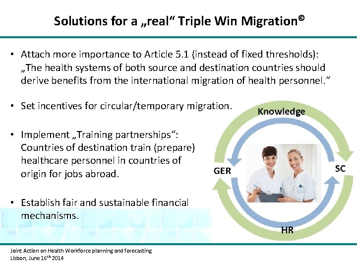 "Solutions for a ""real"" Triple Win Migration© • Attach more importance to Article 5."