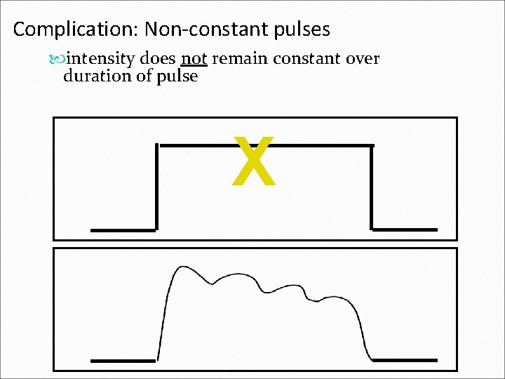 Complication: Non-constant pulses intensity does not remain constant over duration of pulse X