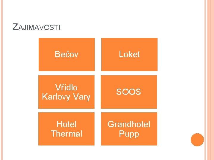 ZAJÍMAVOSTI Bečov Loket Vřídlo Karlovy Vary SOOS Hotel Thermal Grandhotel Pupp