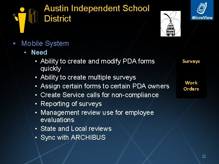 Austin Independent School District • Mobile System • Need • Ability to create and