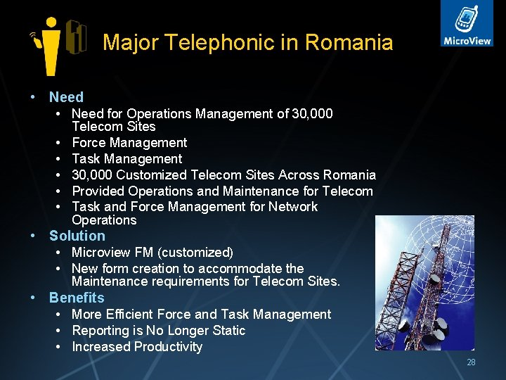 Major Telephonic in Romania • Need for Operations Management of 30, 000 • •