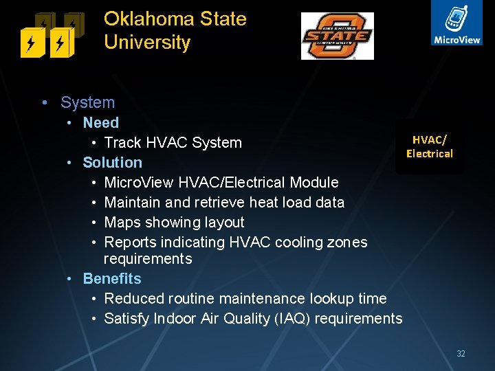 Oklahoma State University • System • Need HVAC/ • Track HVAC System Electrical •