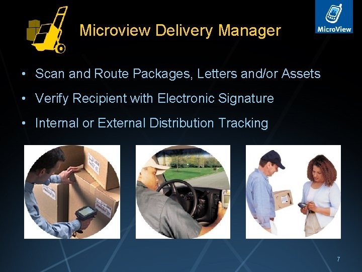 Microview Delivery Manager • Scan and Route Packages, Letters and/or Assets • Verify Recipient