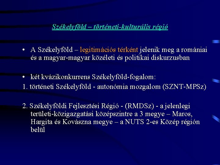 a régió fogalma különböző szempontok szerint)