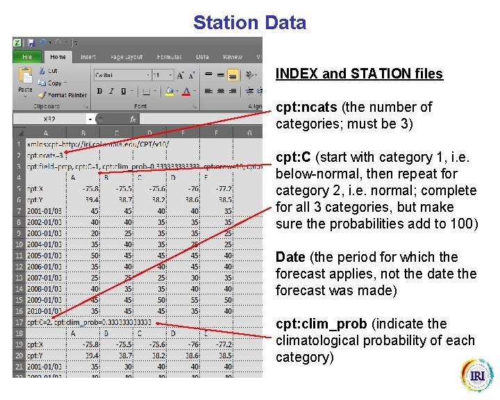 Station Data INDEX and STATION files cpt: ncats (the number of categories; must be