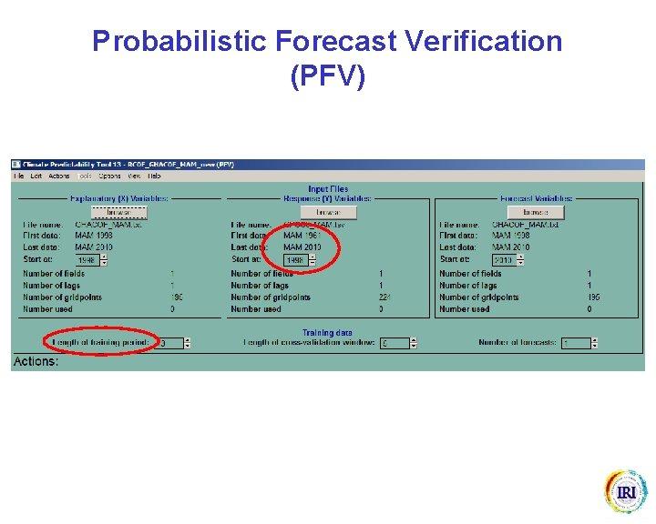 Probabilistic Forecast Verification (PFV)