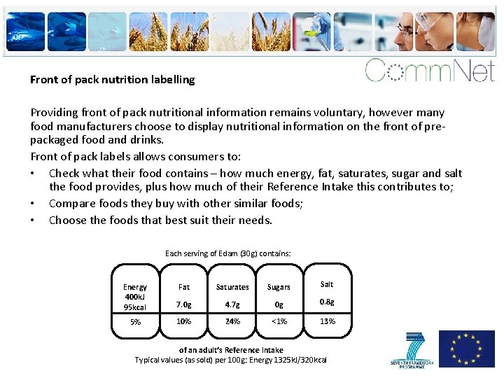 Front of pack nutrition labelling Providing front of pack nutritional information remains voluntary, however