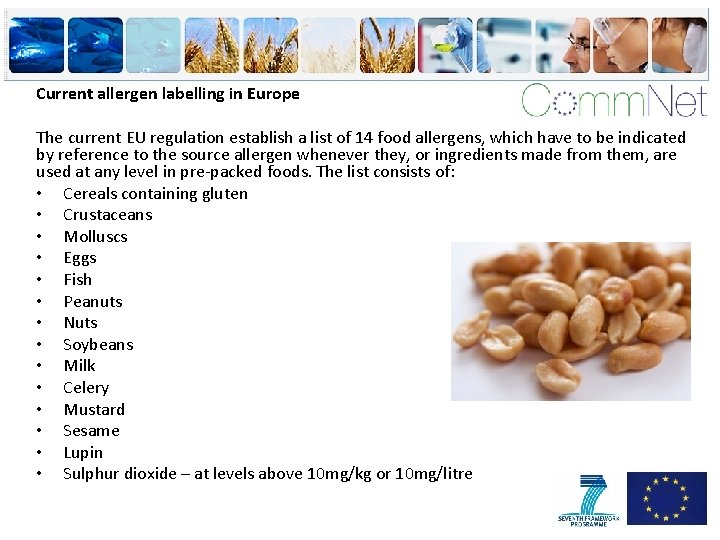 Current allergen labelling in Europe The current EU regulation establish a list of 14