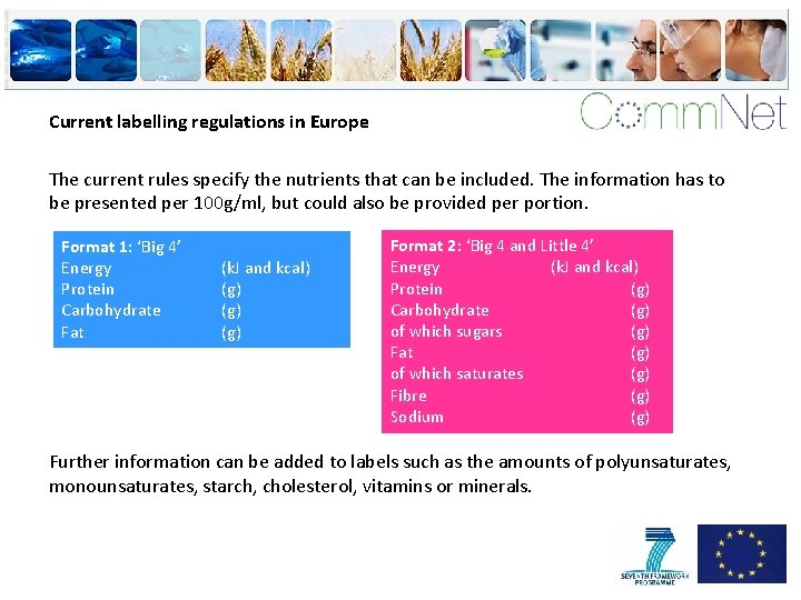 Current labelling regulations in Europe The current rules specify the nutrients that can be