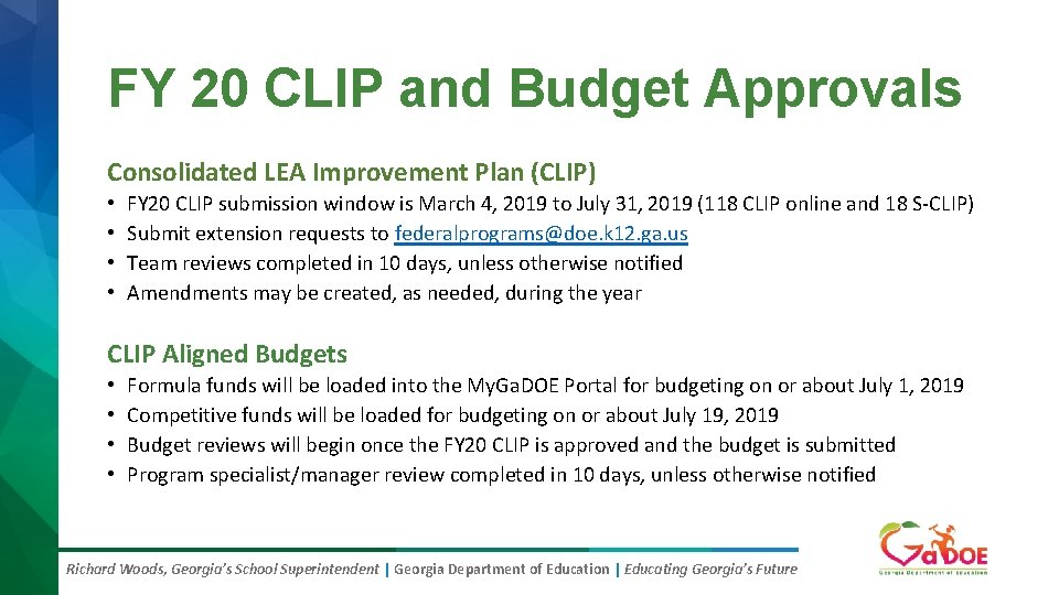 FY 20 CLIP and Budget Approvals Consolidated LEA Improvement Plan (CLIP) • • FY