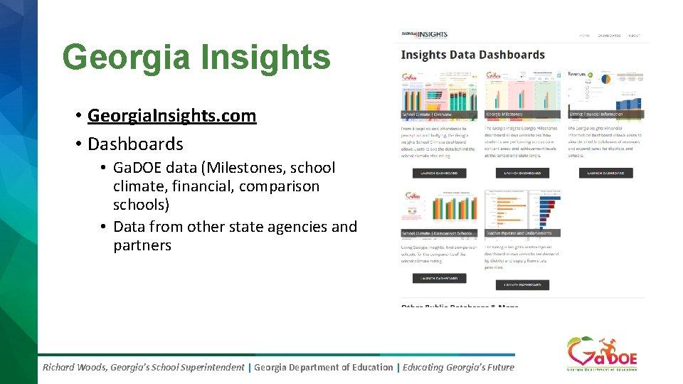 Georgia Insights • Georgia. Insights. com • Dashboards • Ga. DOE data (Milestones, school