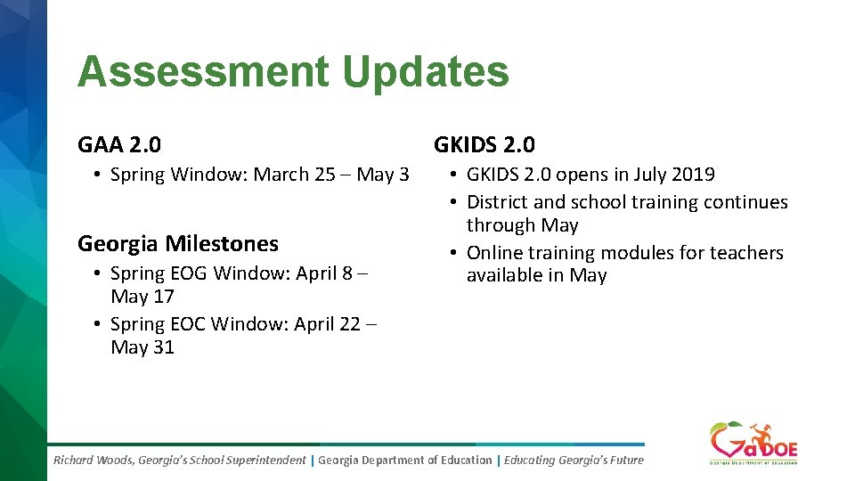 Assessment Updates GAA 2. 0 • Spring Window: March 25 – May 3 Georgia