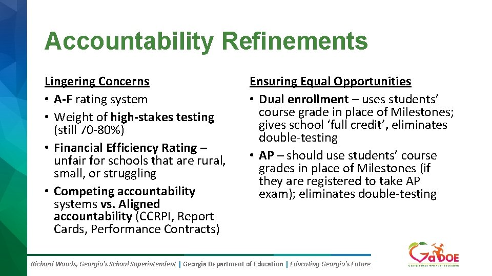 Accountability Refinements Lingering Concerns • A-F rating system • Weight of high-stakes testing (still