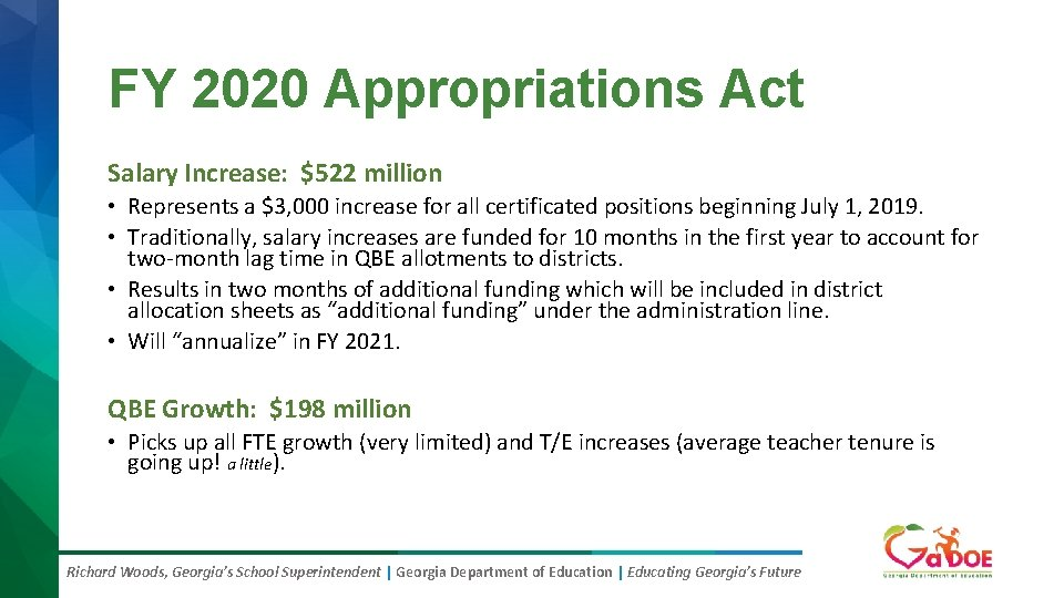 FY 2020 Appropriations Act Salary Increase: $522 million • Represents a $3, 000 increase