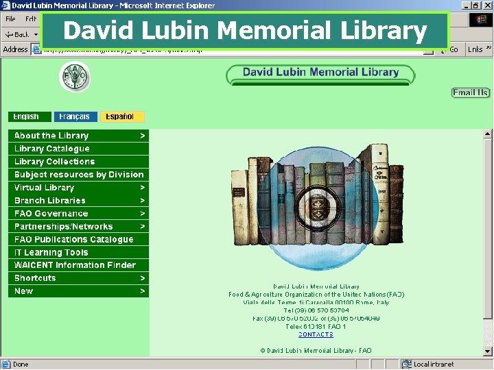 David Lubin Memorial Library