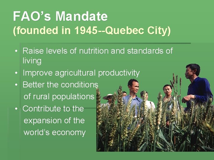 FAO's Mandate (founded in 1945 --Quebec City) • Raise levels of nutrition and standards