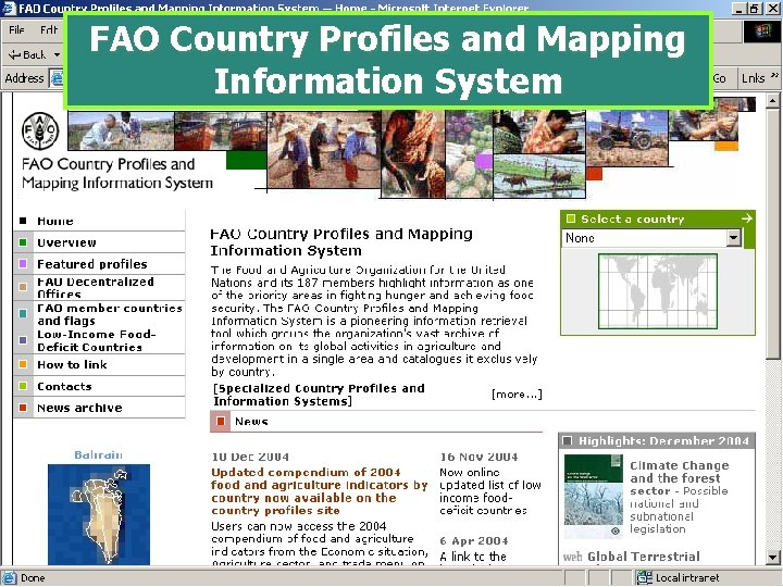 FAO Country Profiles and Mapping Information System