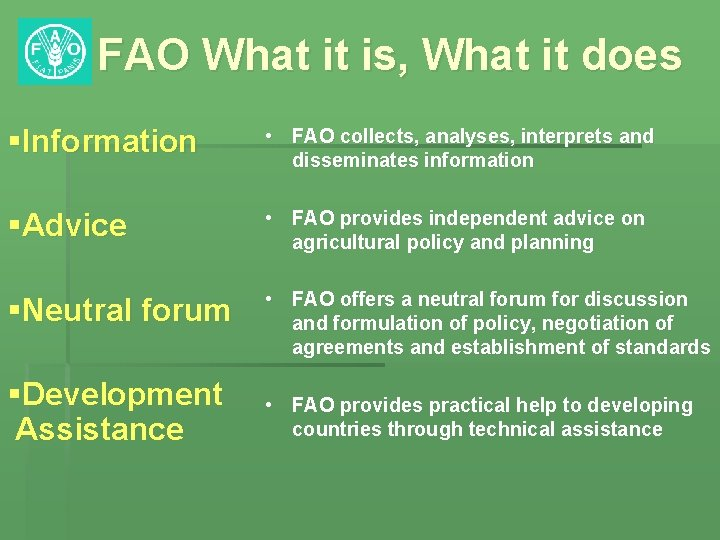 FAO What it is, What it does §Information • FAO collects, analyses, interprets and