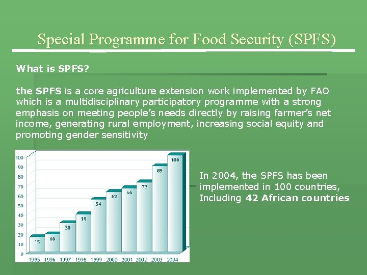 Special Programme for Food Security (SPFS) What is SPFS? the SPFS is a core