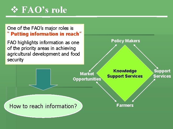 """v FAO's role One of the FAO's major roles is """" Putting information in"""