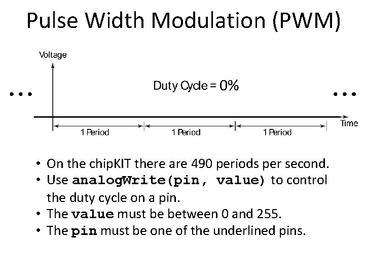 Pulse Width Modulation (PWM) 0% • On the chip. KIT there are 490 periods