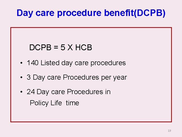 Day care procedure benefit(DCPB) DCPB = 5 X HCB • 140 Listed day care