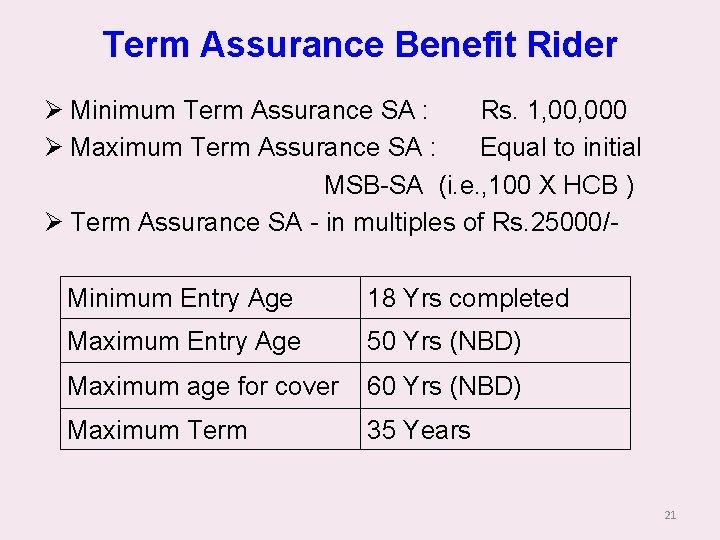 Term Assurance Benefit Rider Ø Minimum Term Assurance SA : Rs. 1, 000 Ø