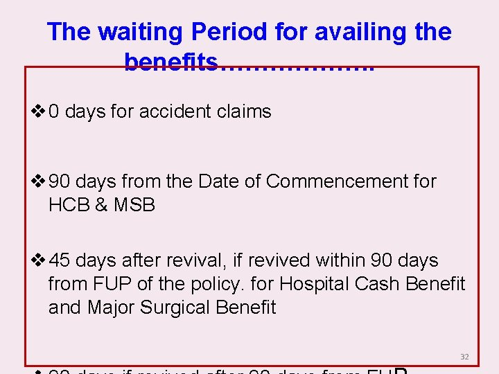 The waiting Period for availing the benefits………………. v 0 days for accident claims v