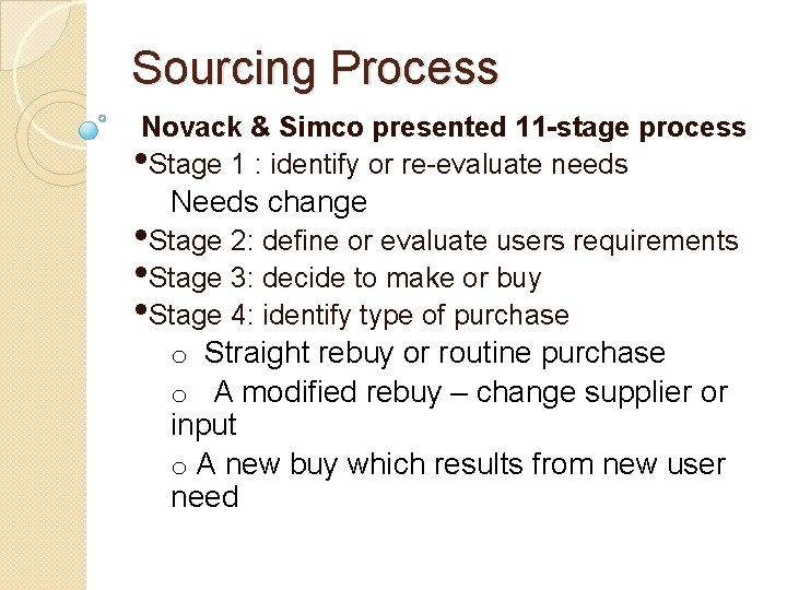 Sourcing Process Novack & Simco presented 11 -stage process • Stage 1 : identify