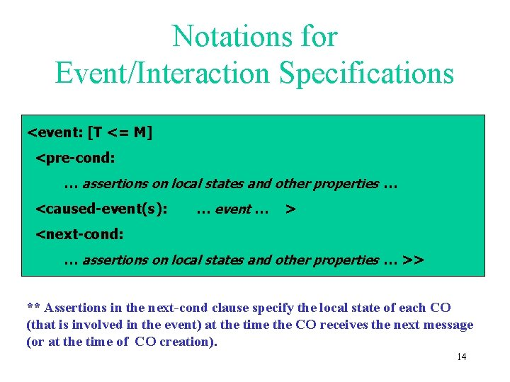 Notations for Event/Interaction Specifications <event: [T <= M] <pre-cond: … assertions on local states