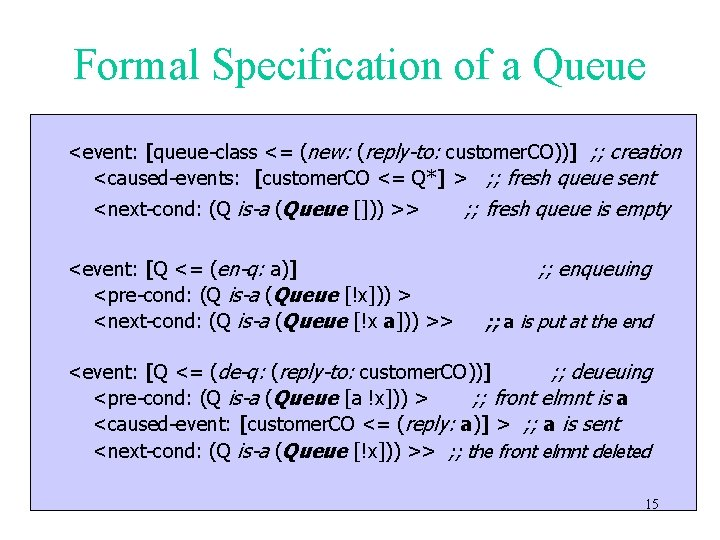 Formal Specification of a Queue <event: [queue-class <= (new: (reply-to: customer. CO))] ; ;