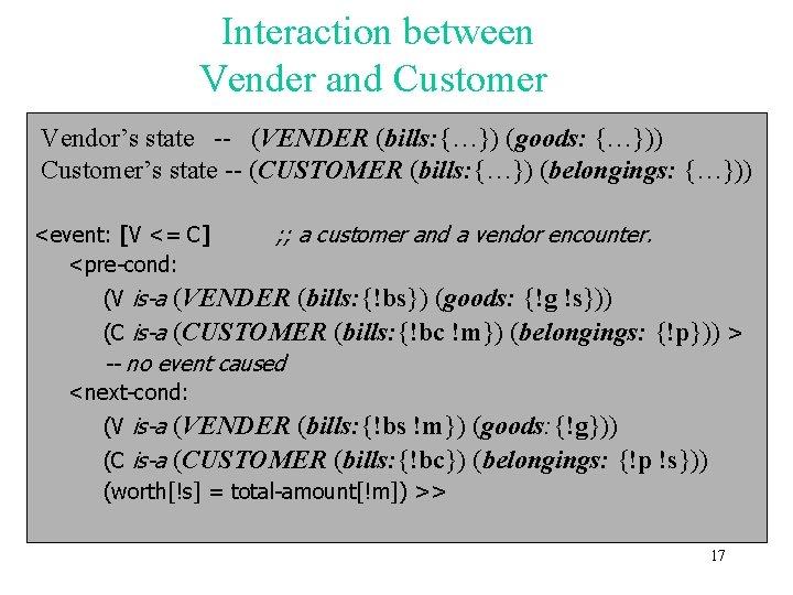 Interaction between Vender and Customer Vendor's state -- (VENDER (bills: {…}) (goods: {…})) Customer's