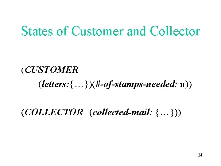 States of Customer and Collector (CUSTOMER (letters: {…})(#-of-stamps-needed: n)) (COLLECTOR (collected-mail: {…})) 24