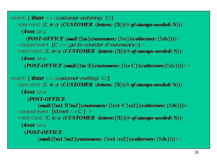 <event: [ door <= (customer-entering: C)] <pre-cond: (C is-a (CUSTOMER (letters: {!l})(#-of-stamps-needed: N))) (door