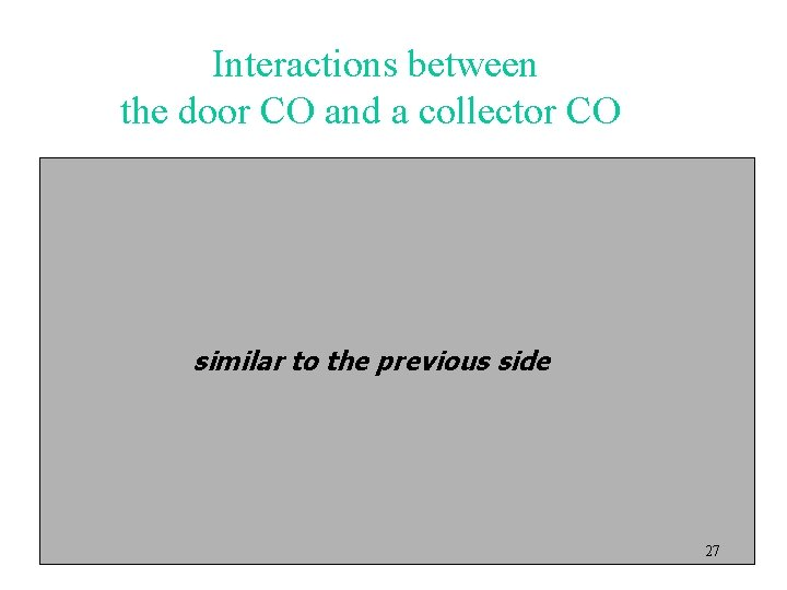 Interactions between the door CO and a collector CO similar to the previous side