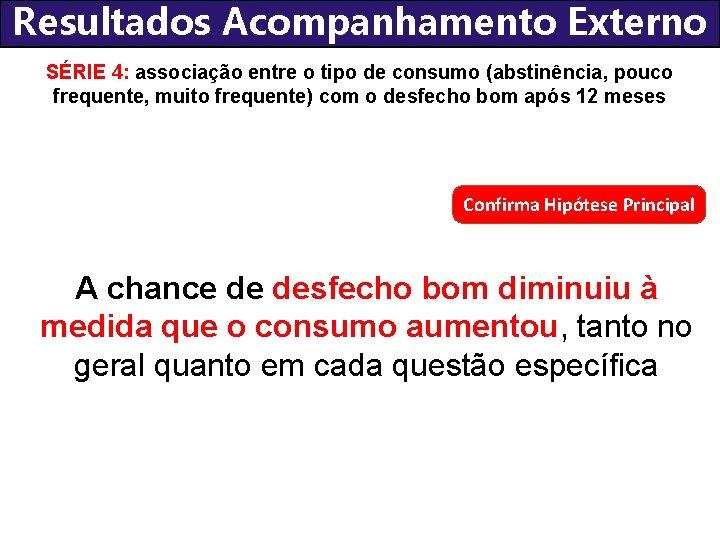 Resultados Acompanhamento Externo SÉRIE 4: associação entre o tipo de consumo (abstinência, pouco frequente,