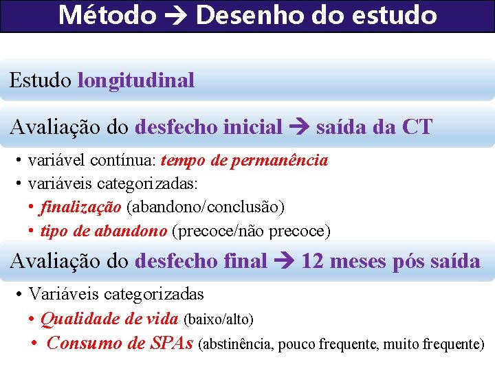 Método Desenho do estudo Estudo longitudinal Avaliação do desfecho inicial saída da CT •