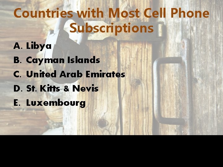 Countries with Most Cell Phone Subscriptions A. B. C. D. E. Libya Cayman Islands