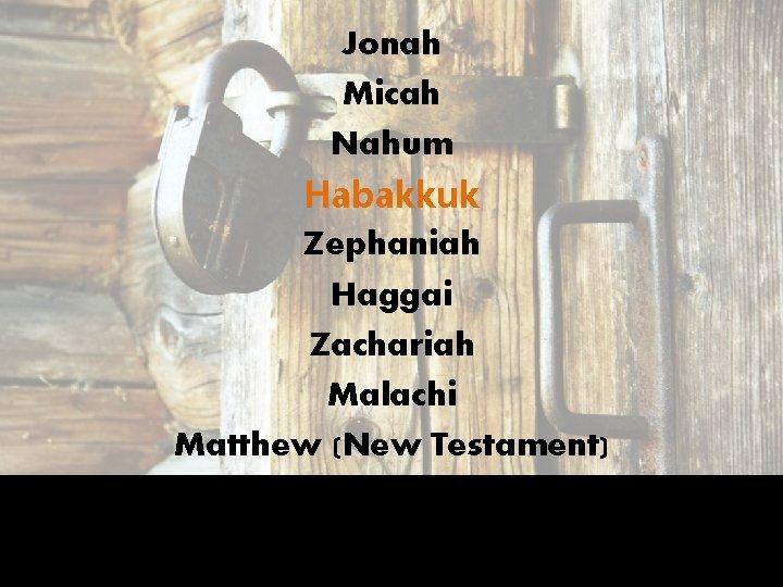 Jonah Micah Nahum Habakkuk Zephaniah Haggai Zachariah Malachi Matthew (New Testament)