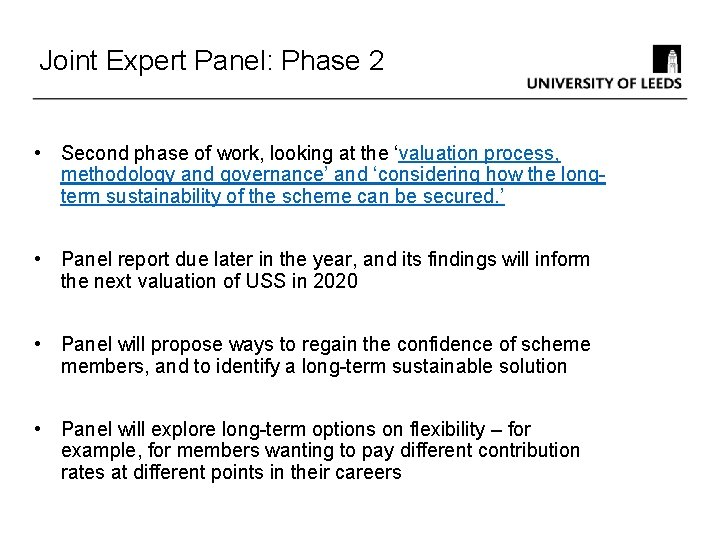 Joint Expert Panel: Phase 2 • Second phase of work, looking at the 'valuation