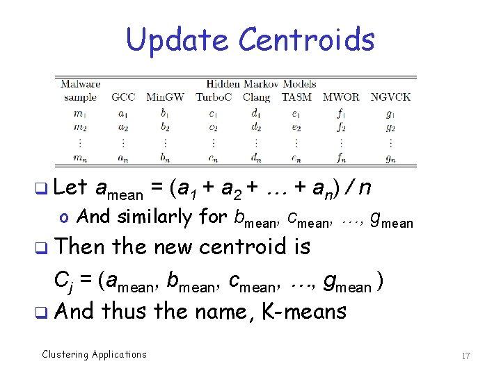 Update Centroids q Let amean = (a 1 + a 2 + … +