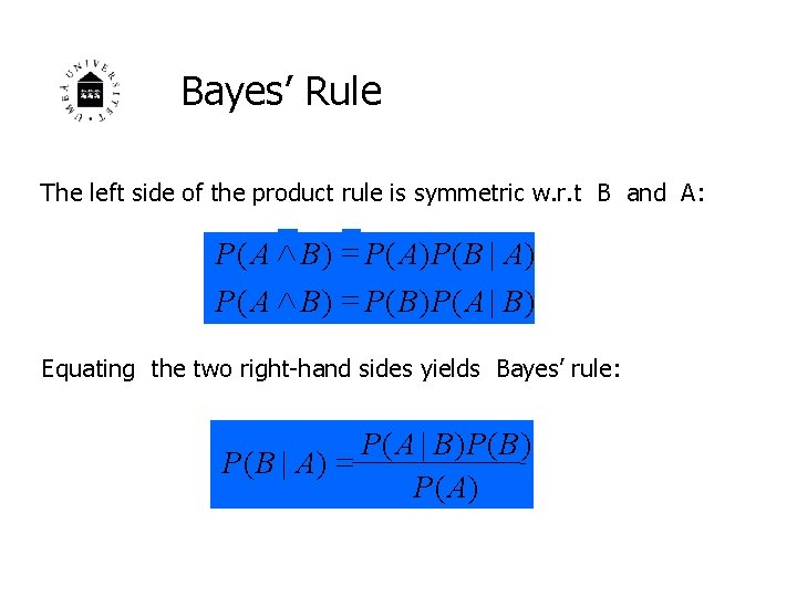 Bayes' Rule The left side of the product rule is symmetric w. r. t