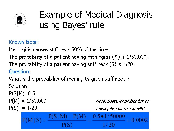 Example of Medical Diagnosis using Bayes' rule Known facts: Meningitis causes stiff neck 50%