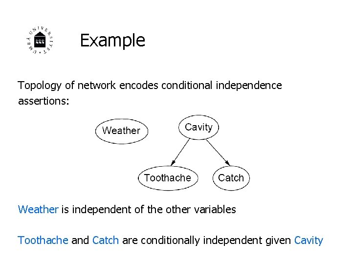 Example Topology of network encodes conditional independence assertions: Weather is independent of the other