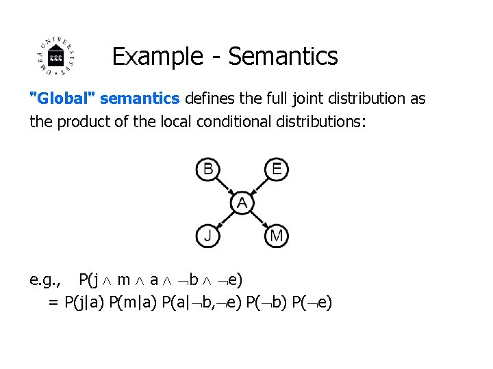 """Example - Semantics """"Global"""" semantics defines the full joint distribution as the product of"""