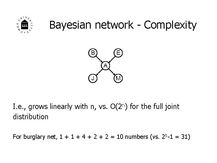 Bayesian network - Complexity I. e. , grows linearly with n, vs. O(2 n)